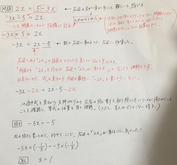 一次方程式の解き方を説明した図